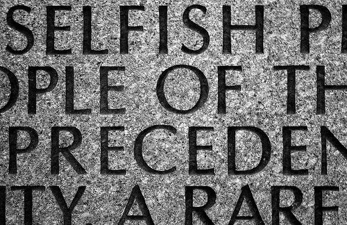 selfish text stone