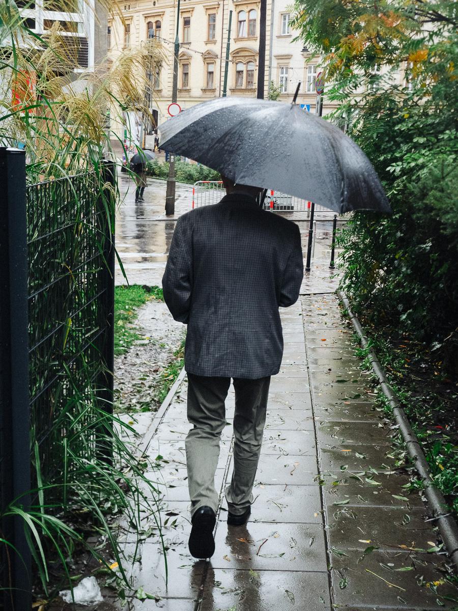 Rainy day krakow street