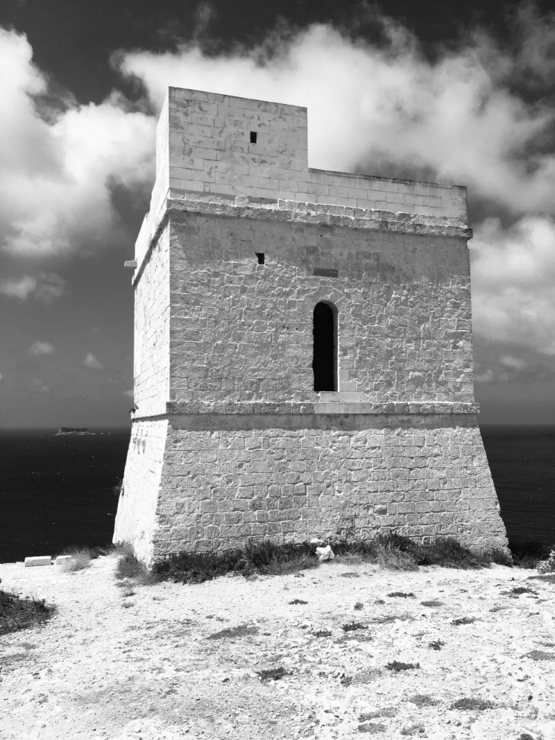 Malta landscape in black and white